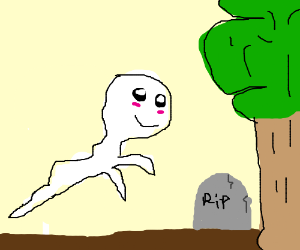 Ghost is happy about gravestone next to tree