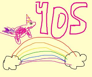 Unicorn strolling on a rainbow