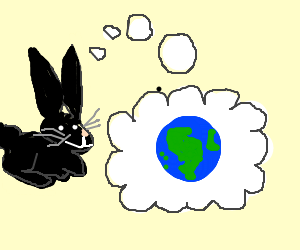 Black bunny thinks about Earth