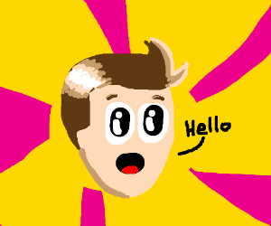 Purple man on LSD says Hello