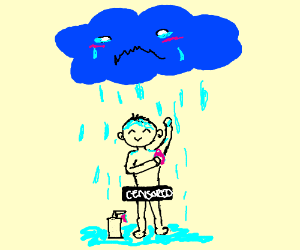 man showers in crying cloud