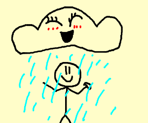showering naked under a kawaii cloud