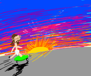 Rad jesus riding a skateboard into the sunset