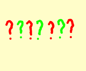 red and green question marks