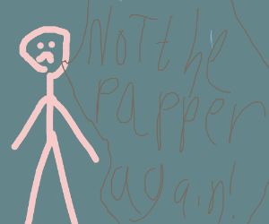 Pink man is angry about someth in the papper