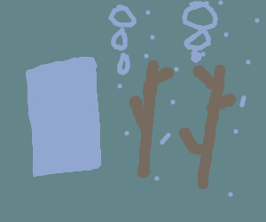 2 sticks emit water bubbles near a rectangle
