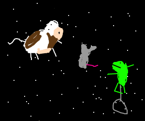 cow and mouse float in space (ft. dat boi)