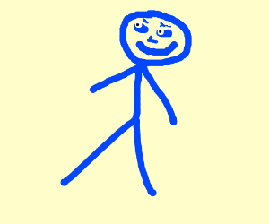 Blue stickman with poker face