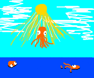 Octopus ascending to heaven