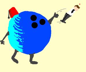 anthro fez wearing bowling ball throws man