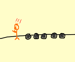 orange man followed by mob of bowling balls