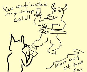 a cow and a mouse fighting in a duel