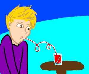 A guy drinking out of a twisty straw