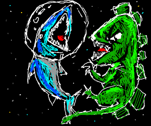 Shark vs Dinosaur in space