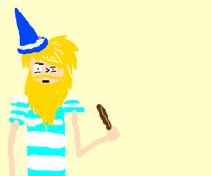 blonde bearded magician in white and cyan PJ's