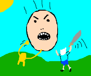 Jake and Finn attack giant face