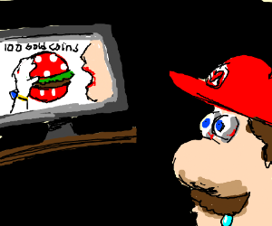 Mario watches Mushroom Kingdom TV