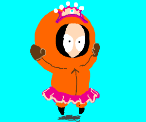 Kenny in a tutu and tiara