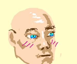 blushing bald man