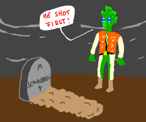 greedo cries at han solo's funeral