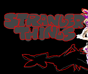 Stranger Things logo next to shadow of monster