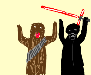 Chewbacca holdin hands with toddler Ben (Kylo)