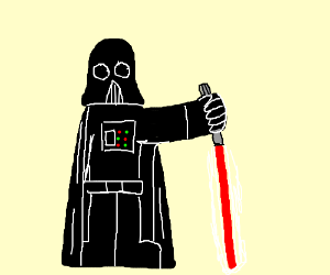 DrthVader holding his lightsaber the wrong way