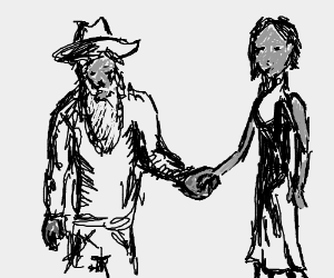 Bearded man in hat holds confused lady's hand