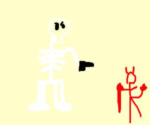Unhappy skeleton aiming a pistol at tiny Satan