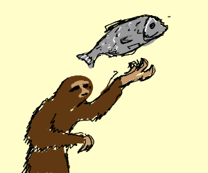 Sloth throws fish into the air