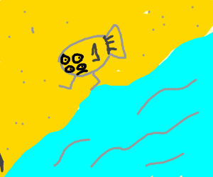 4-eyed mutant fish walking on beach