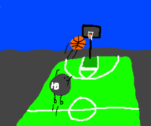 Bowling ball plays basketball