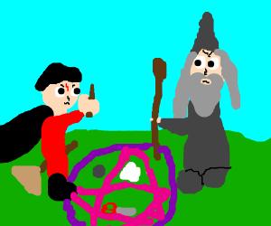 Wizards battle by summoning Rock-Paper-Scissor