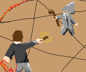 Harry fights gandalf in a pentagram arena