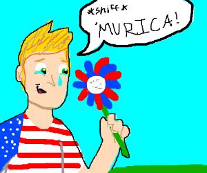 american man holding flower