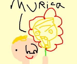 Donald Trump's son sniffs 'Murica flower