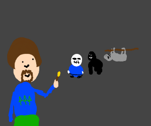 Bob Ross paints sans, harambe, and a sloth