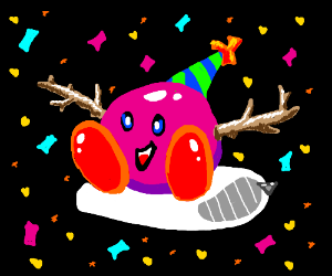 party kirby pillow w/ stick arms + confetti