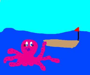 Sexy octopus and boat