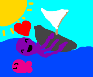 Octopus in love with a boat <3