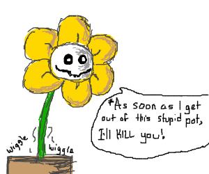 Flowey is stuck in a flower pot