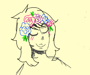 A joyful lady wearing a flower crown