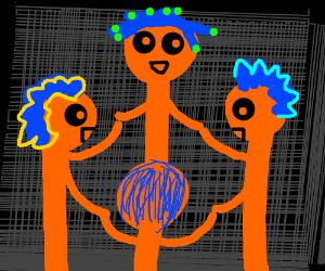 naked orange men play ring around the rosie