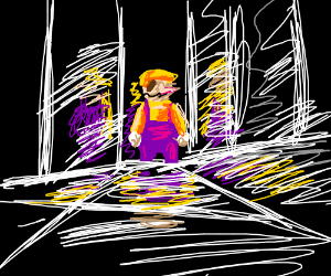 Wario in a hall of mirrors