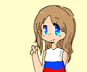 Russian Anime Girl Gives Peace Sign Drawing By Nyan Wulf Drawception