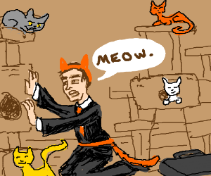 Businessman undercover among cats