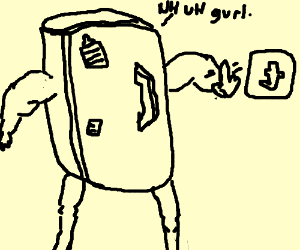 Fridge With Tutu Waves Finger At Tumblr Drawing By Evomelon