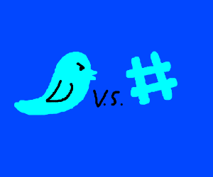 Twitter bird vs hashtag