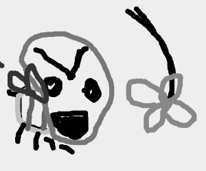 Angry bee yells at upside down flower