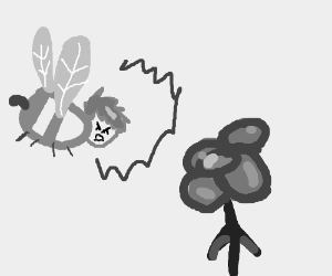 extremely angry human bee shouts at flower